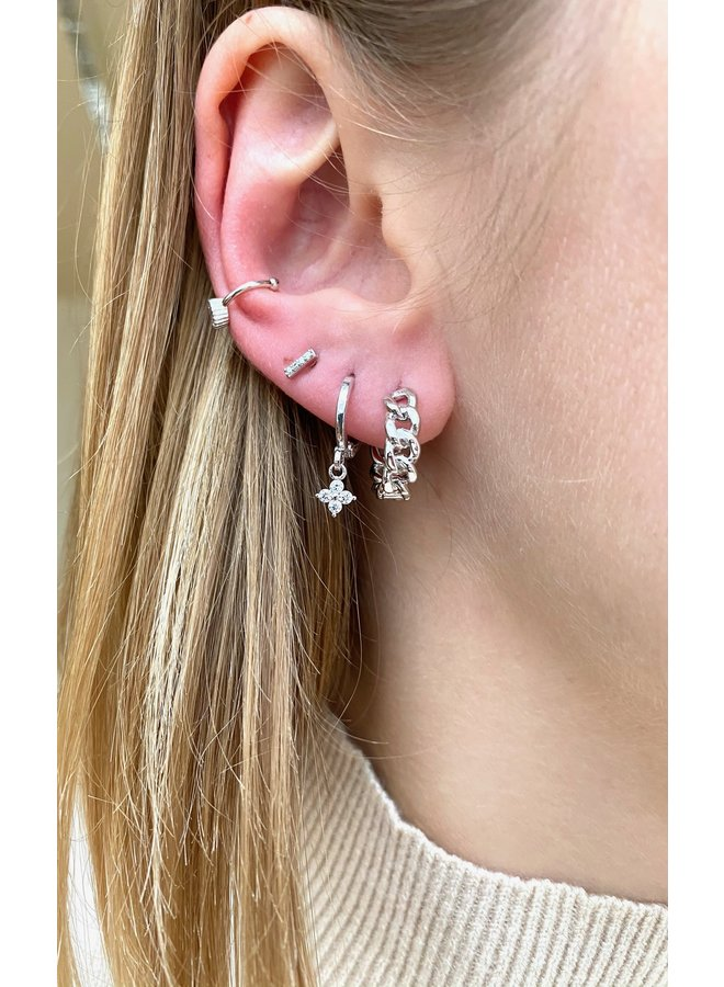 SIMPLE CHAIN STAINLESS STEEL EARRING - SILVER