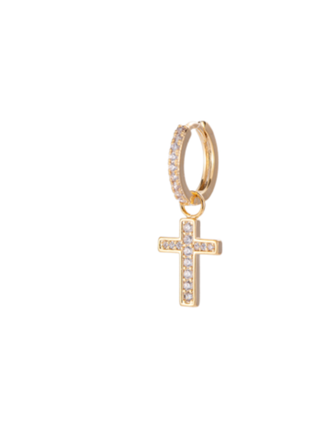 EDGY CRYSTAL CROSS EARRING - GOLD