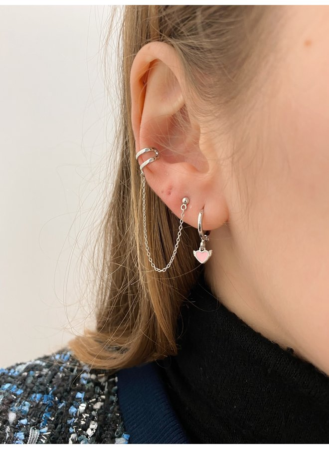 PINK ANGEL HEART PLATED EARRING -SILVER