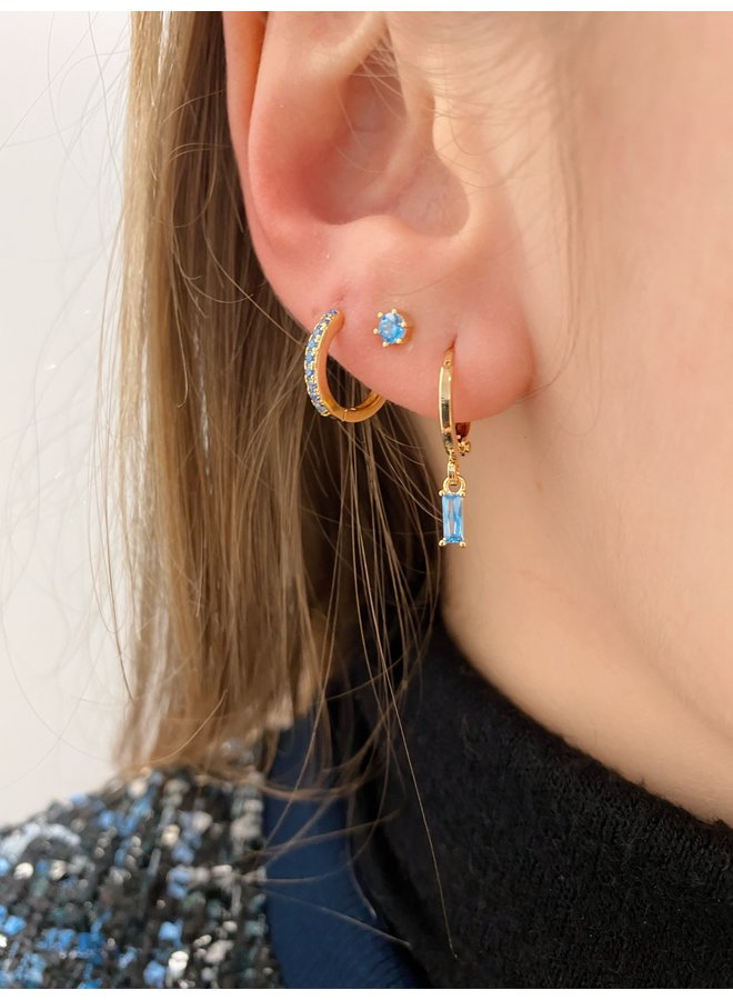 BIG CUBE PLATED EARRING - BLUE
