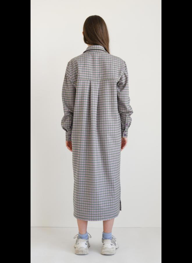 LILY CHECKERED DRESS GREEN/ PURPLE
