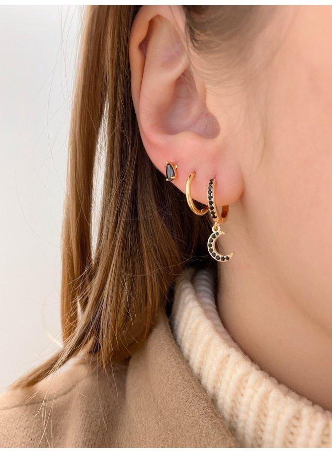 SHINING MOON 3.0 BLACK EARRING
