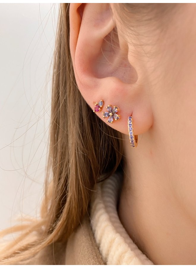 TWIN STONE GOLD - PLATED STUD EARRINGS