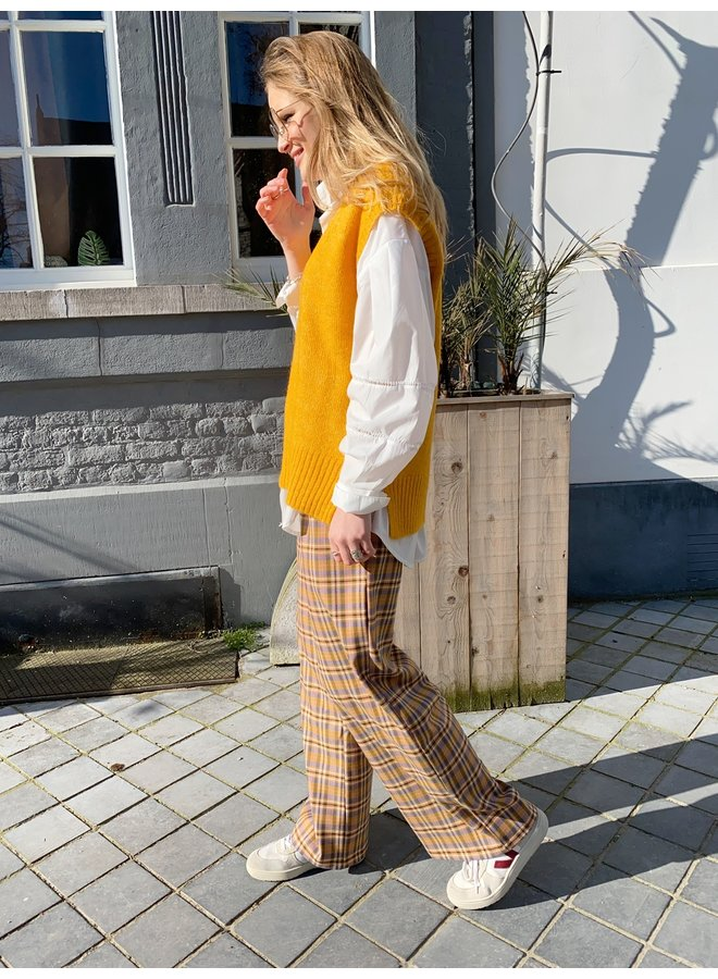 LILY CHECKERED TROUSERS SAND/ PINK