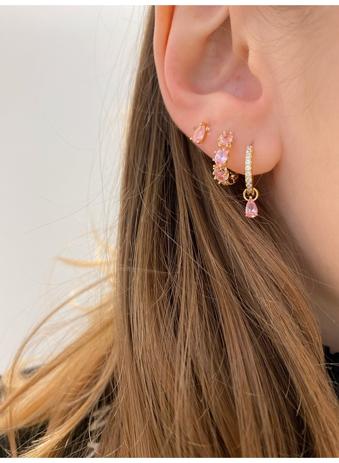 SLIDING WATER DROP PLATED EARRING - PINK