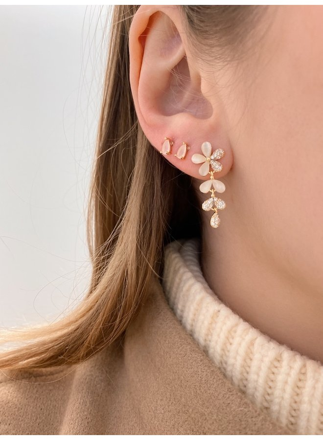 REAGAN GOLD-PLATED STUD EARRINGS - LIGHT PINK