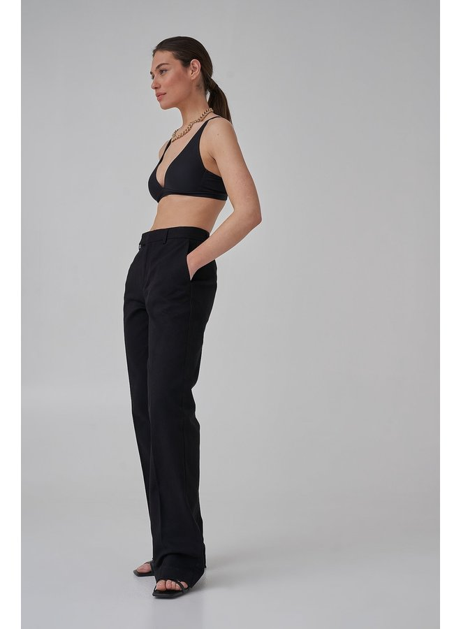 LONG LEG TWILL SUIT PANTS - BLACK