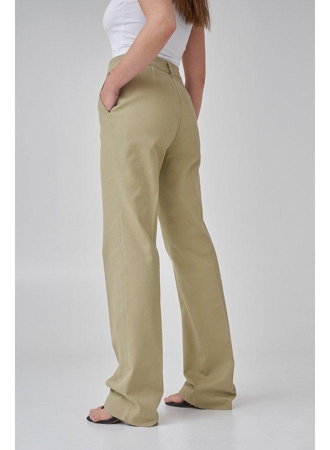 LONG LEG TWILL SUIT PANTS - KHAKI GREEN