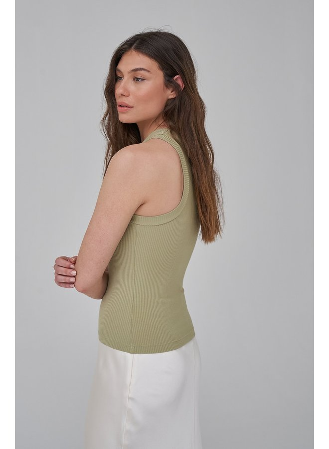 RIBBED KNITTED HIGH NECK TOP - KHAKI