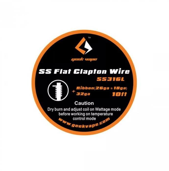 10ft GeekVape SS Flat Clapton Wire (26GA x 18GA) + 32GA