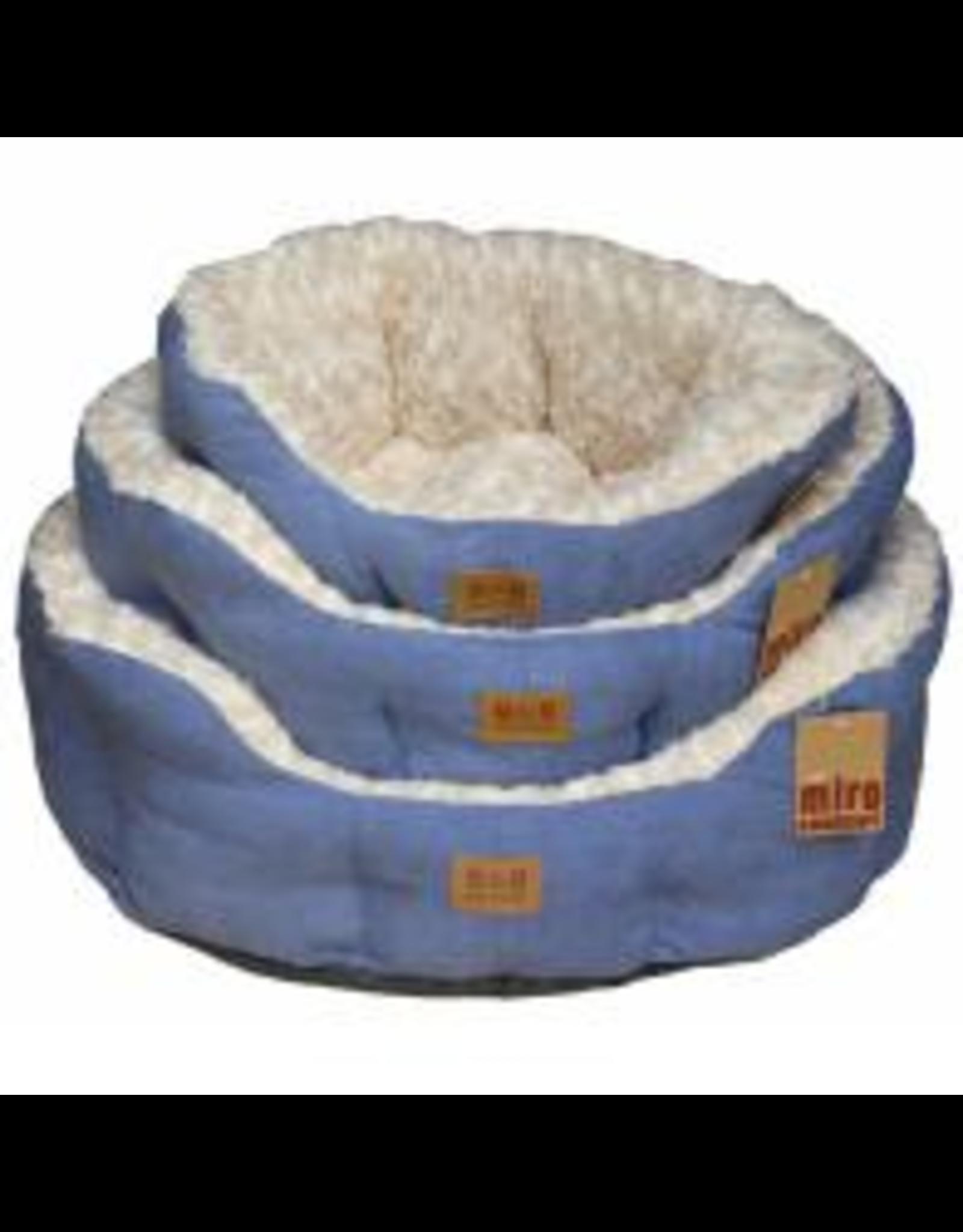 Miro Makauri Makauri Faux Suede Dog Bed Blue & Cream