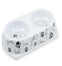 Ancol Ancol Melamine Grey Stripe Twin Cat Bowl