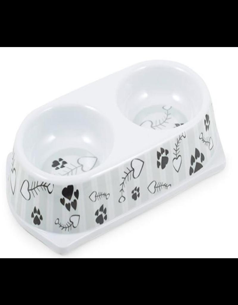 Ancol Ancol Melamine Grey Stripe Twin Cat Bowl