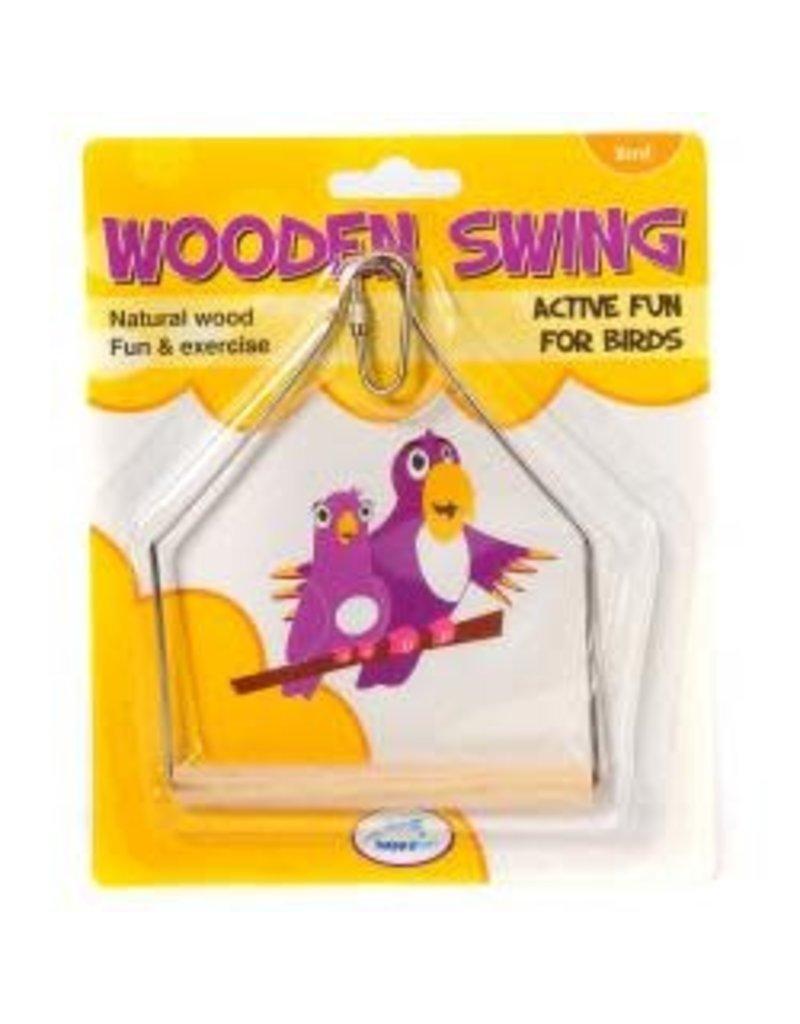 Happy Pet Wooden Bird Swing 16cm
