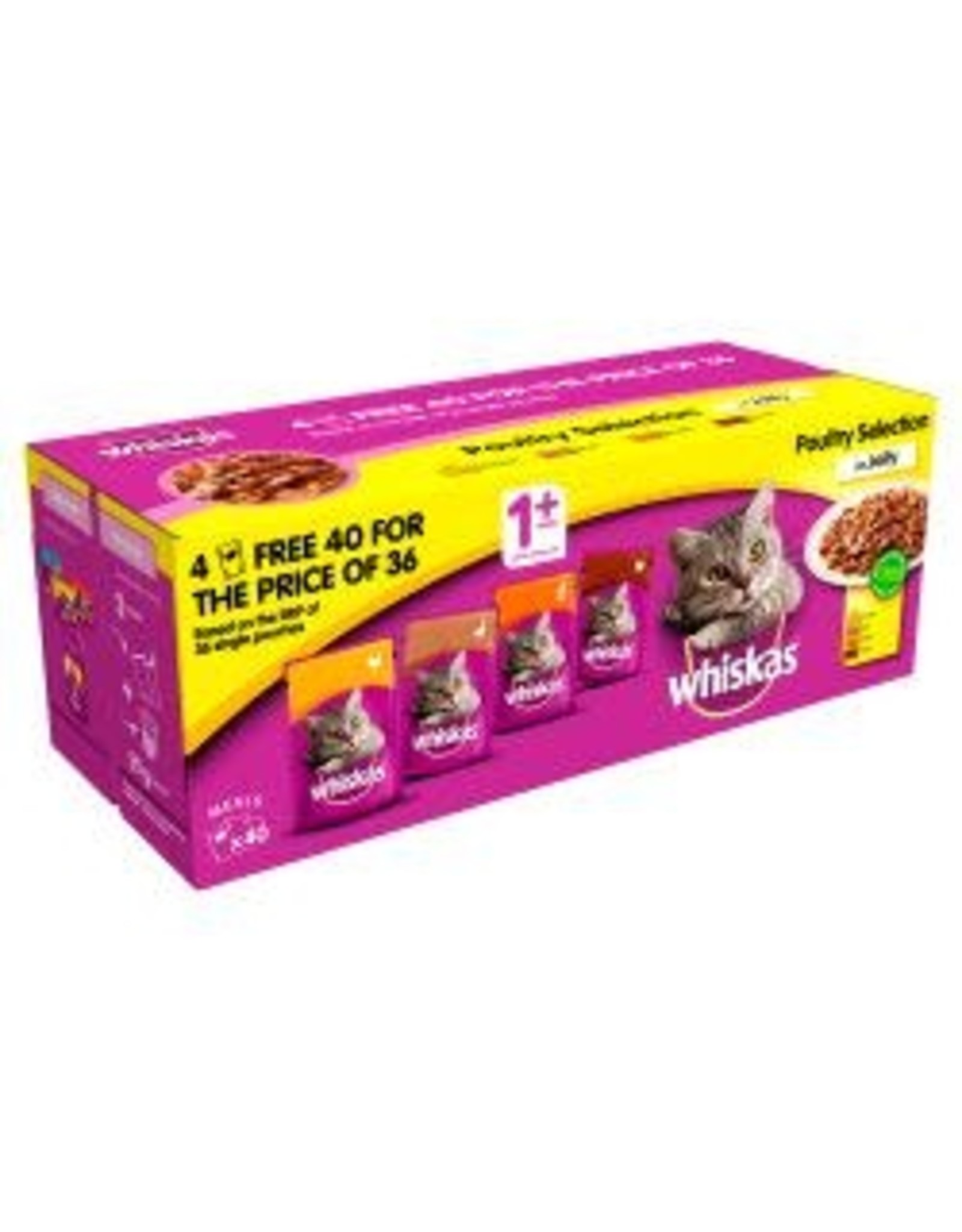 Whiskas Whiskas 1+ Cat Pouches Poultry In Jelly 40 Pack