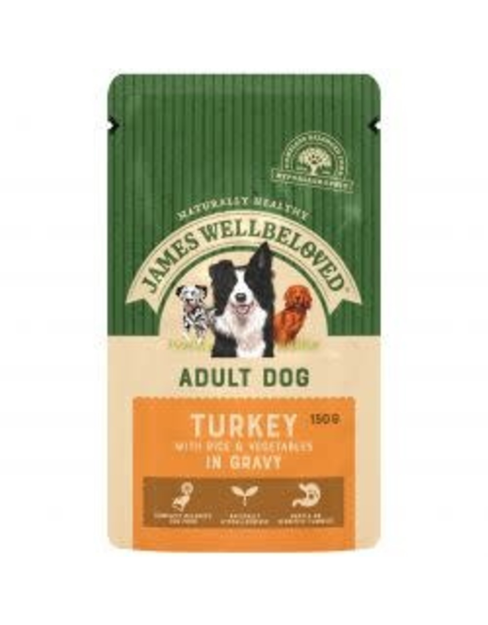 James Wellbeloved JW Adult Dog Pouch MEGA Pack Turkey With Rice & Gravy