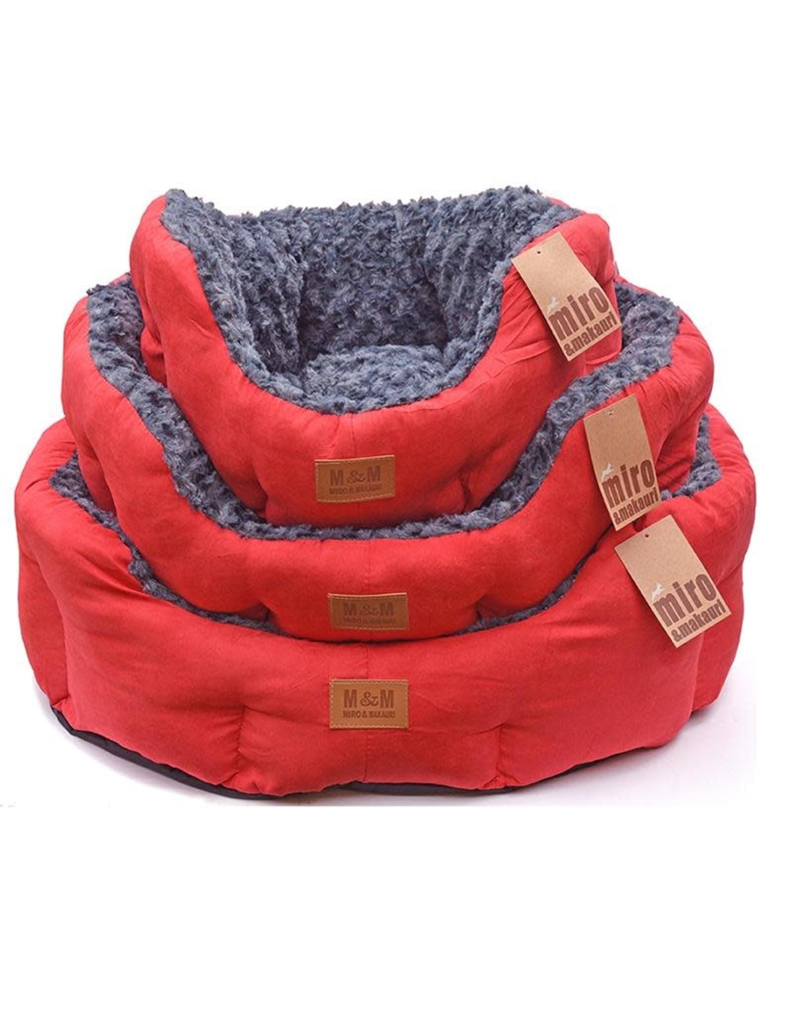 Miro Makauri Makauri Faux Suede Dog Bed Red/Grey 55cm