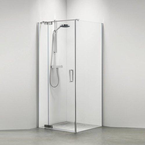 Douchecabine Custom Rechts 100x100 cm Zilver hoogglans Helder glas