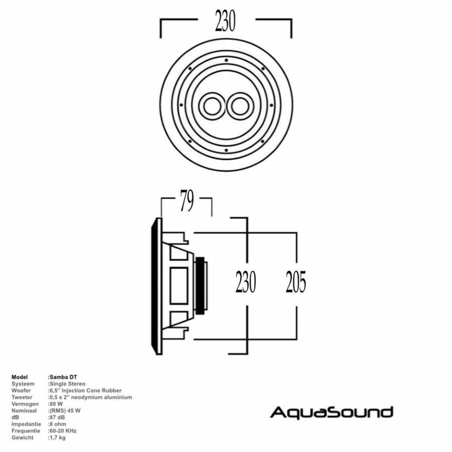 Speaker Samba-DT (single stereo) Vochtbestendig Mat Chroom Rond Ø 23 cm