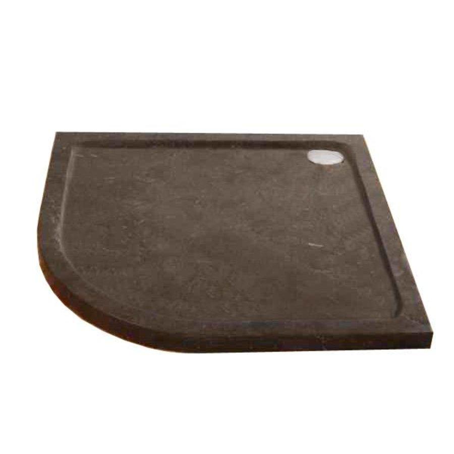 Hardstenen douchebak 90x90x5 cm kwartrond radius 55 cm