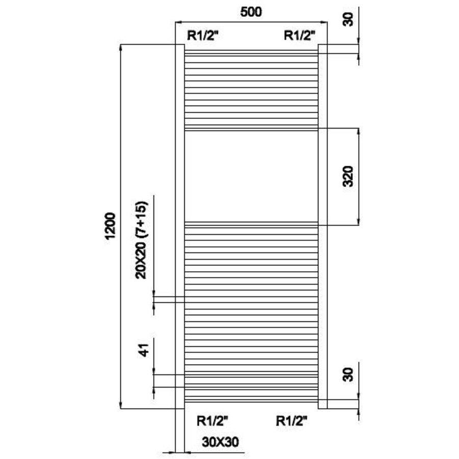 Design radiator Mega 50x120cm wit Outlet