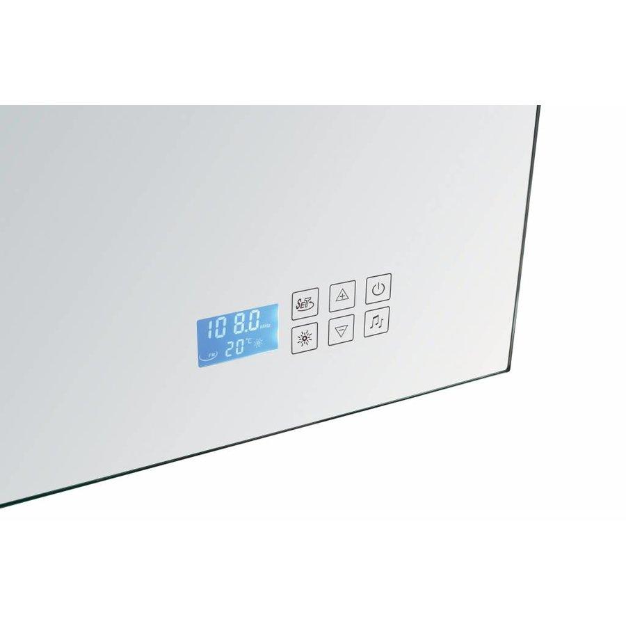 Radio spiegel 120 cm met TL verlichting en touch sensor