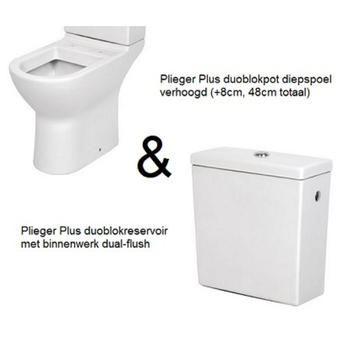 Toilet set met Plus wandcloset en duoblokreservoir