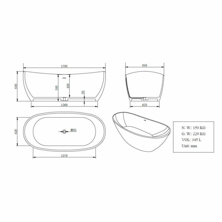 Vrijstaand Bad Solid Surface 179.5X84.5X64 Cm