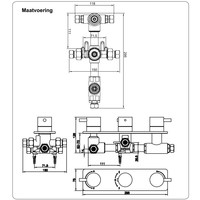 Ceres Square Inbouw 3-Wegs Douchethermostaat Vierkant Chroom