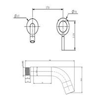 Ore inbouw wandkraan 13cm RVS