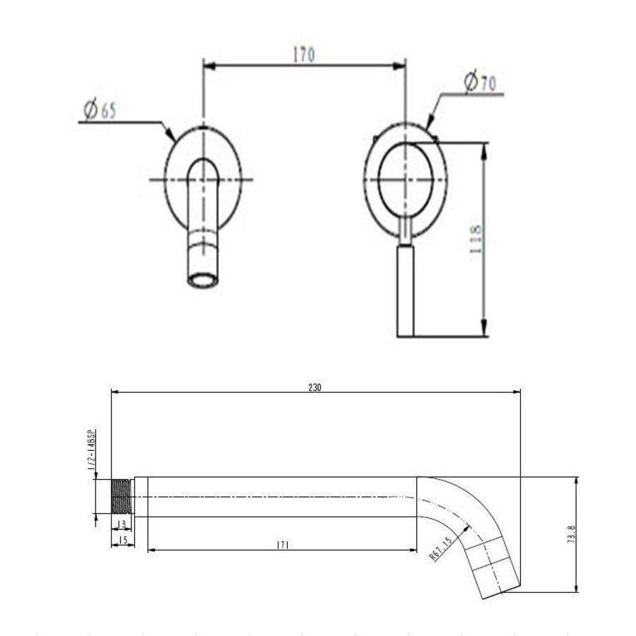 Ore inbouw wandkraan 21cm RVS