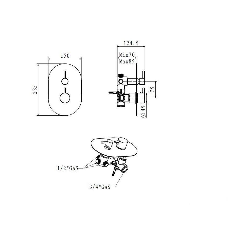Ore-Weel thermostatische inbouwkraan 3 wegs RVS