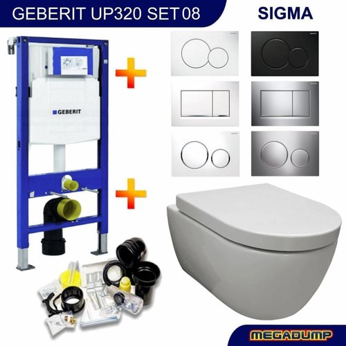 UP320 Toiletset 08 Aqua Royal EasyFlush Rimfree 48cm compact met Sigma drukplaat
