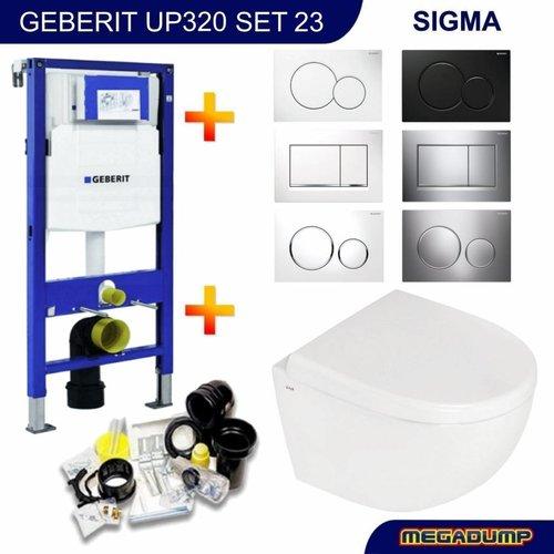 UP320 Toiletset 23 Megasplash Zero compact met bril en drukplaat