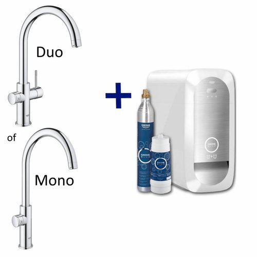 Bruisendwater Keukenkraan Blue Home Starterkit Chilled en Sparkling Water MONO of DUO (Chroom of RVS)
