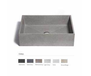 Opzet wastafel immissio beton 60x40x17 cm 6 kleuren megadump dalen