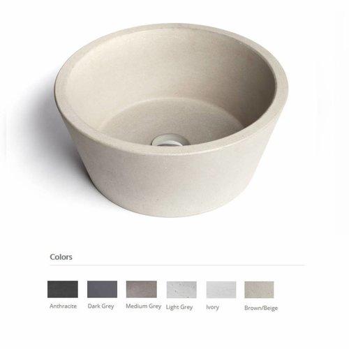 Opzet Wastafel  Circum Beton 38x18 cm ( 6 Kleuren)