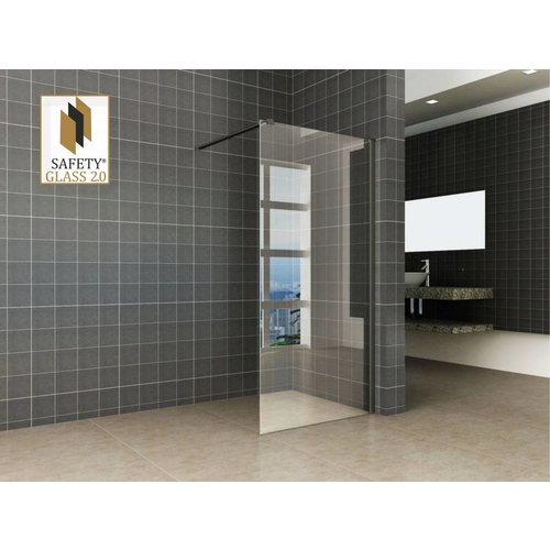 Wiesbaden inloopdouche + Safety Glass + ZWART muurprofiel 1000x2000 10mm NANO