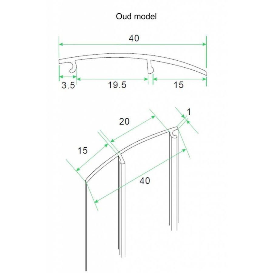 aluminium afdekstrip 200cm wandprofiel type 1 (oud)
