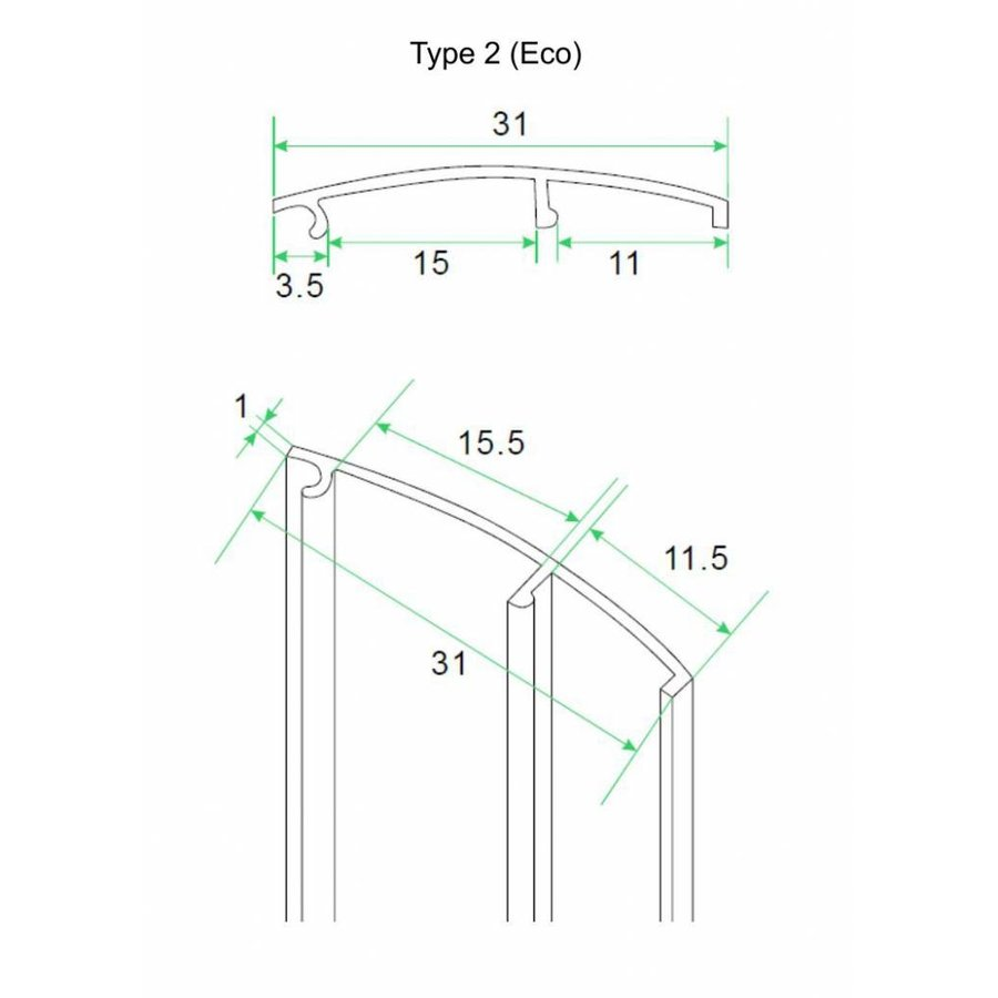 aluminium afdekstrip 200cm wandprofiel eco model