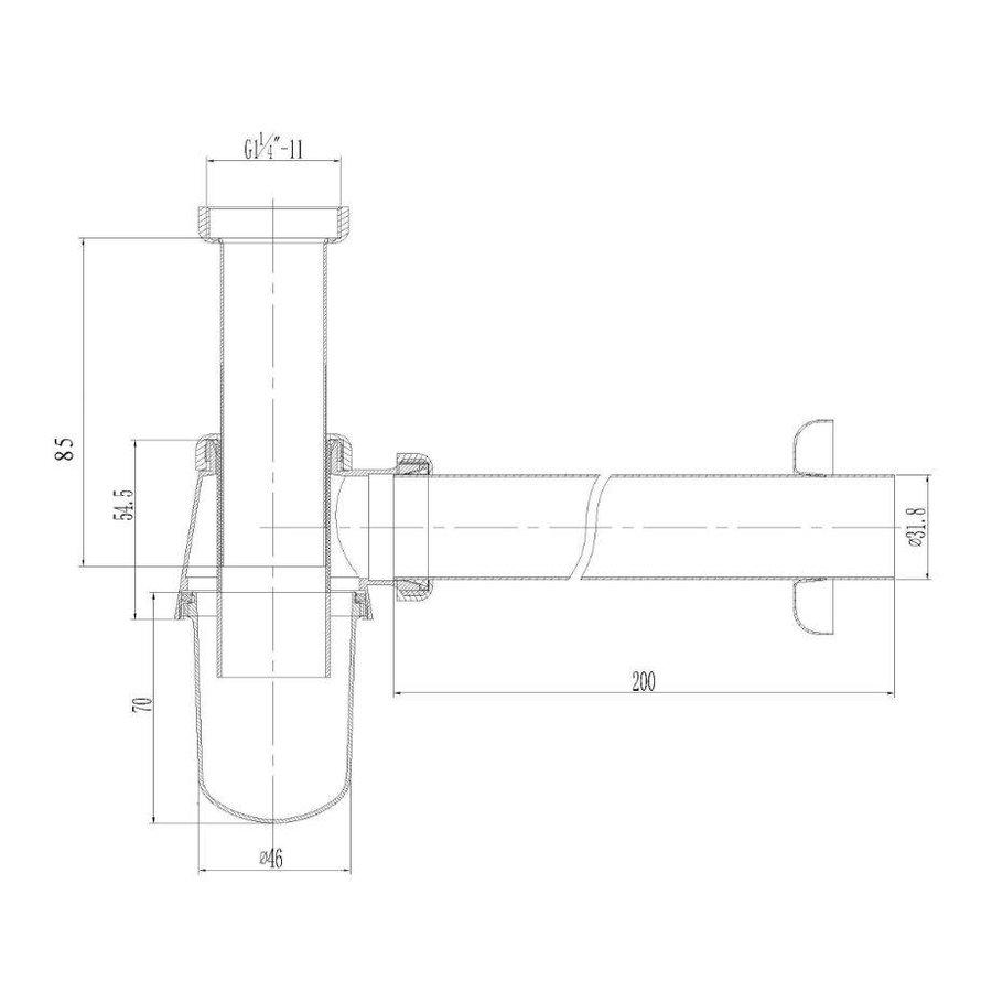 Bekersifon 5'4inch x32mm Chroom