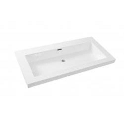 Wiesbaden Vision kunstmarmer wastafel zonder kraangat 100x46 wit