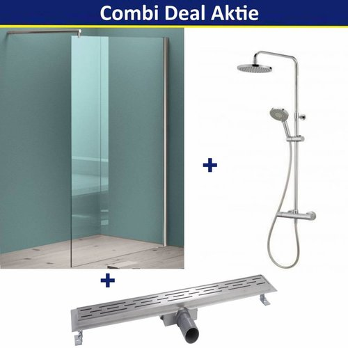 Combi Deal Aktie Douchewand Chroom