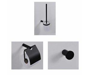 Toilet Accessoires Zwart : Toilet accessoires set wiesbaden mat zwart megadump dalen