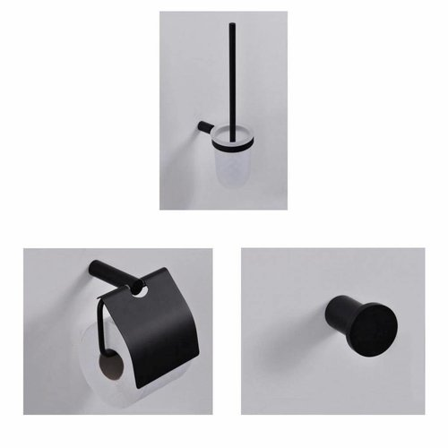 Toilet Accessoires Set Wiesbaden Mat Zwart