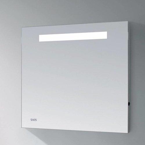 Spiegel Sanitop met LED Verlichting en Geintegreerde Klok Aluminium Geborsteld (In 8 maten)
