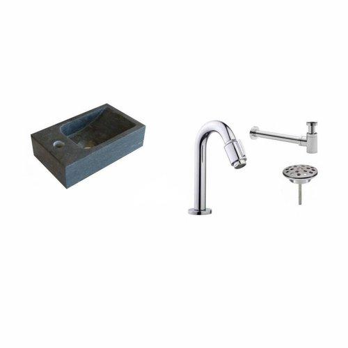 Fonteinset Aqua Splash Mini Natuursteen Links 30x18 Cm Chroom (Keuze Uit 20 Kranen)