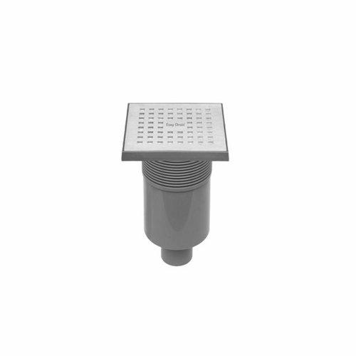 Vloerput Easy Drain Aqua Quattro met Abs Afwerkdeel RVS Rooster en Onderuitlaat AQUA15X15MSI3