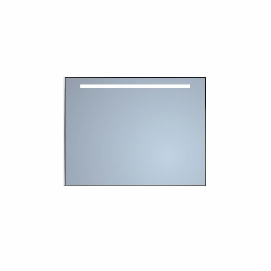 Badkamerspiegel Sanicare Q-Mirrors 'Warm White' LED-Verlichting 70x60x3,5 cm Zwarte Omlijsting