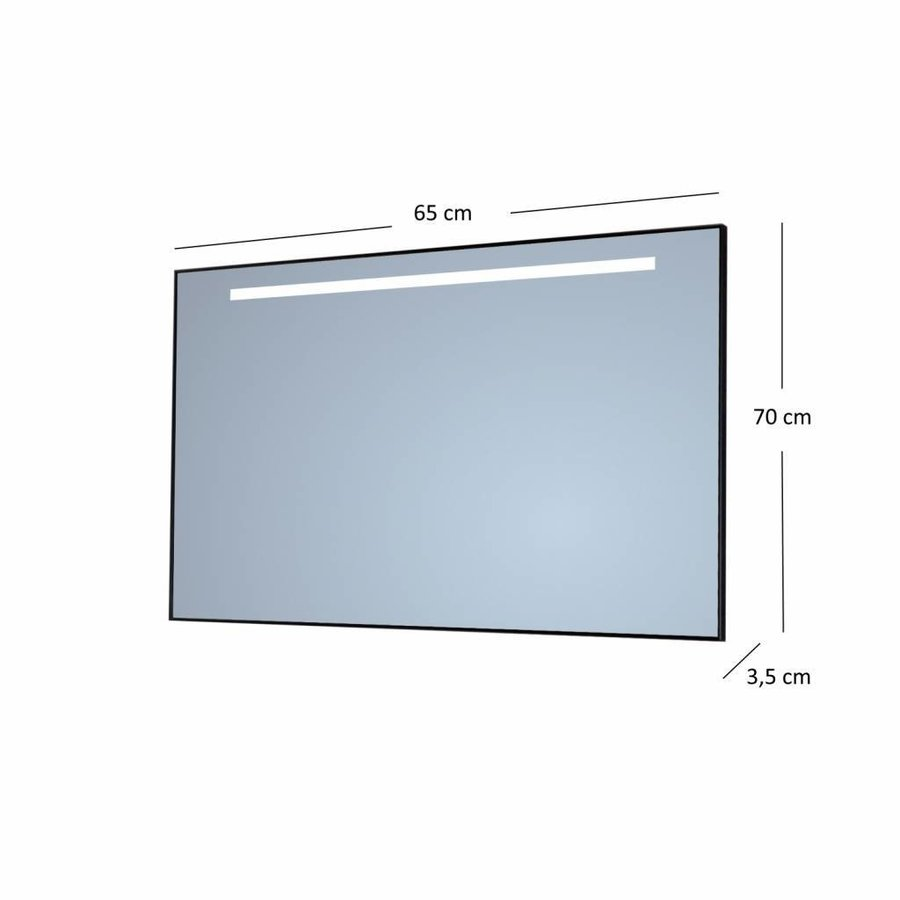 Badkamerspiegel Sanicare Q-Mirrors 'Warm White' LED-Verlichting 70x65x3,5 cm Zwarte Omlijsting